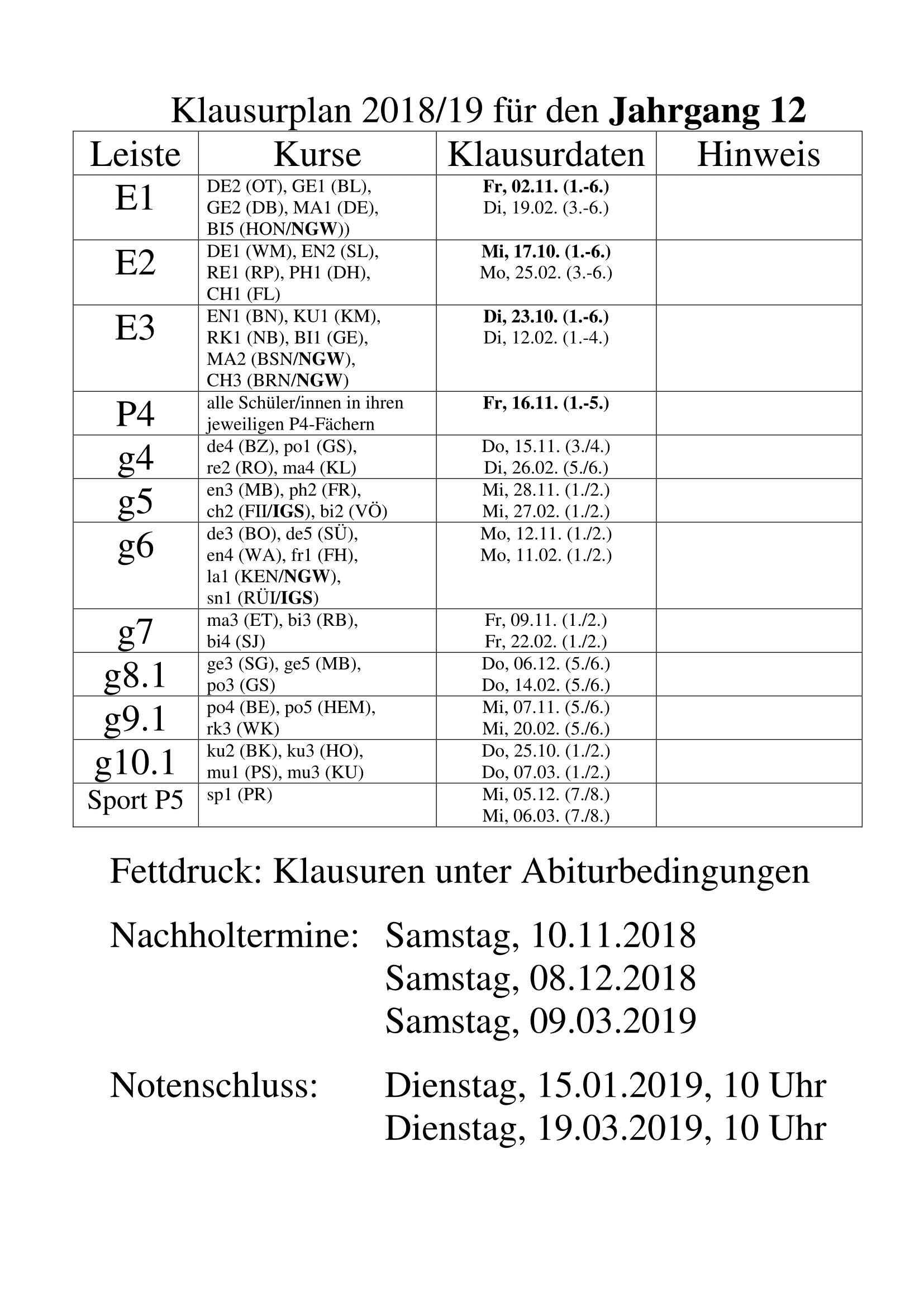 Klausurplan Jahrgang 12 Cäcilienschule Wilhelmshaven